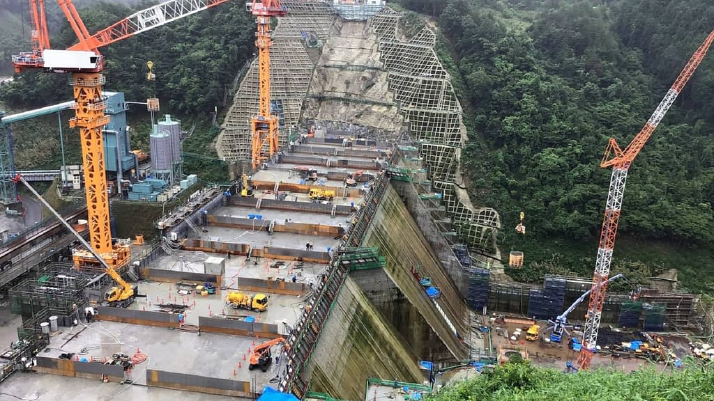 visual of dam construction site in Japan