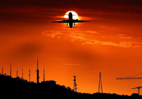 sunset airplane take off